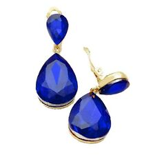 Blue gold tone CLIP ON earrings dangly drop prom bridal party long sparkly 211