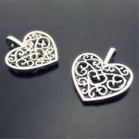 20pc Tibet silver hollow flower heart charm pendant bead accessories  PL035