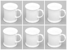 White bone china mugs SET OF 6 tankard shaped bone china mugs white china mug