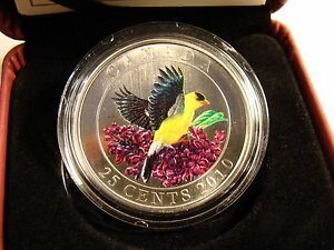 2010 25 Cent Coin Canada Coloured Goldfinch - with Certificate, COA & Box