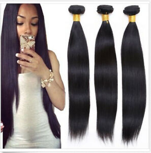 100% Brazilian Remy Real Human Hair Straight Weft Extension Unprocessed Hair