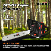 "X-BULL Chainsaw 20"" Bar Gasoline Powered Chain Saw 62cc Engine 2 Cycle"