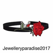 Black Velvet Choker Necklace Party GIFT Jewellery Red Rose Love Bridesmaid Goth