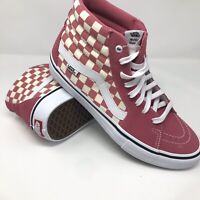 Vans Off The Wall Hi Top Skate Casual Checkered Shoes Mens Pink/White Size 9.5
