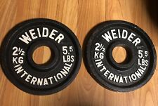 Vintage Weider International 2.5 kg 5.5 lb Pounds Olympic Plates Weights Change