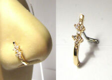 18K Gold Plated L Shape Nose Ring Hoop Stud Clear Crystal Double Flower 18 gauge