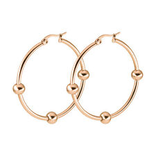 1Pair 20-60MM Stainless Steel Small ball Round Ring Hook Earrings Dangle Hoop