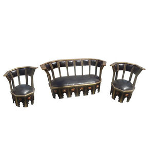 Moroccan Living Room Seating Leather Bone & Wood Gold Finish Set