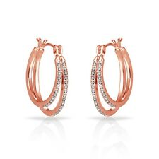 Rose Gold Double Hoop Earrings Embellished With Crystals From Swarovski