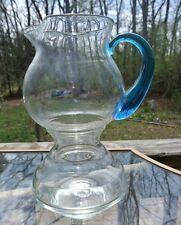 Vintage Hand Blown Glass Pitcher Clear with Cobalt Blue Handle Artisan Pontil
