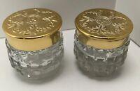 2 vintage glass vanity powder dresser trinket dish with gold lid