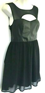 FOREVER 21 Dress SZ S Black Nylon Flare Vegan Leather Fit Bodice