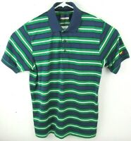 Jack Nicklaus Mens Staydri Polo Shirt Size Large Green Blue Striped Short Sleeve