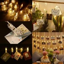 LED Photo Clip Copper String Lights Batery Powered Warm White Lights Party Décor