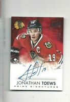 2013-14 Panini Prime hockey card Jonathan Toews signed Chicago Blackhawks 04/50