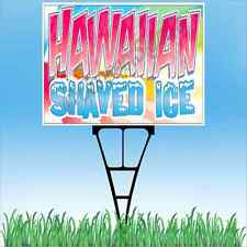 "18""x24"" HAWAIIAN SHAVED ICE Outdoor Yard Sign & Stake Sidewalk Lawn Snow Cones"