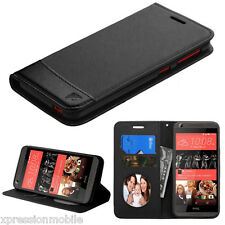 New For HTC Desire 555 650 530 626 S Leather Flip Wallet Case Cover Stand BLACK