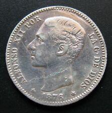 ALFONSO XII , 1 PESETA DE 1876 . ESCASA . PLATA