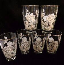 6 Vintage Mid-Century Libbey White w/Gold Roses & Trim Glasses/Tumblers-12-oz