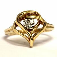 14k yellow gold .08ct SI2 H round diamond cluster ring 3.3g ladies estate