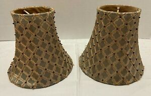 2 Sconce Chandelier SHADES Clip-on Sage/Bronze Geometric Black BEADS Gold Lined