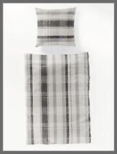 2 tlg. Bierbaum Seersucker Bettwäsche 155x220 Streifen grau schwarz #6857/02=D7