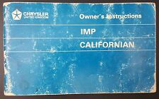 Owners manual/ instructions for Hillman Chrysler Imp Californian 6601519