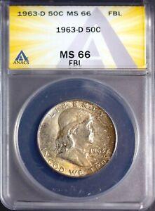 1963-D 50C Silver Franklin Head Half-dollar MS 66 FBL ANACS # 7230274 + Bonus
