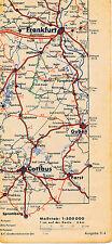 Cottbus Frankfurt/Oder Guben Peitz 1937 kl. orig. Teil-Autokarte *Reichsautobahn