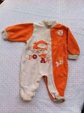 Pyjama /Grenouillere T 1 mois Orange Beige Toucher Velours Tout Doux Bon Etat