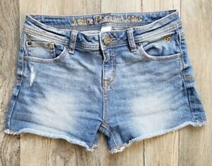 Justice Girls Size 16R Denim Distressed Jeans Shorts Blue Stretch GUC