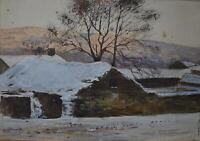 A Farmstead in Winter Watercolour c1890 Abraham Hulk Jnr (1851-1922) Signed