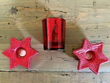 Christmas Red~MERCURY GLASS VOTIVE HOLDER &  2 STAR SHAPED TAPER CANDLE HOLDERS