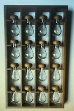 VINTAGE WOODEN WALL HANGING SPICE RACK WITH 16 GLASS JARS WOOD MODERNEST KITCHEN
