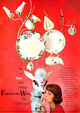 Franciscan Ware DESERT ROSE Autumn PITCHERS Plates FOR CHRISTMAS 1957 Print Ad