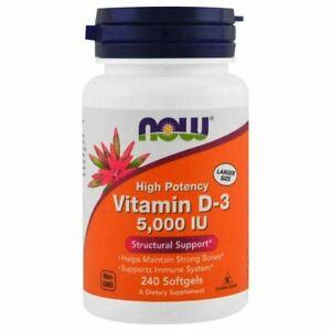 Now Foods, Vitamin D-3, High Potency, 5,000 IU, 240 Softgels Large Bottle
