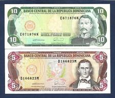 (DN) Dominican Republic Dominicana SET 5 & 10 Pesos Oro 1990 P-131 P-132 VF/EF