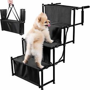 Zento Deals Foldable Car Dog Non-Slip Lightweight Stairs Adjustable Metal Ramp