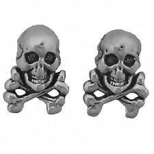 Skull and Crossbones Earrings Sterling Silver Posts Studs Tiny Mini Pirate