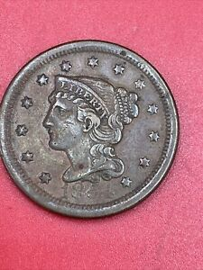 1854 Braided Hair Copper Large US Cent D106