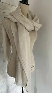 "Brunello Cucinelli Cashmere Ivory Scarf Shaw lw/Glitter Threads Fringe 88"" x 32"""