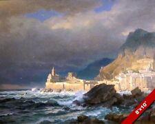 PORTO VENERE LA SPEZIA ITALY SEASCAPE OIL PAINTING ART REAL CANVAS GICLEEPRINT