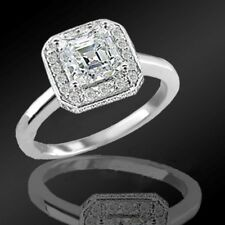 1.63 Asscher Cut Natural Diamond Antique Engagement Ring With Accents G VVS2 DGS