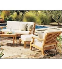 6 PC LARGE A GRADE TEAK WOOD GARDEN OUTDOOR PATIO SOFA SET LOUNGE POOL DECK GIVA
