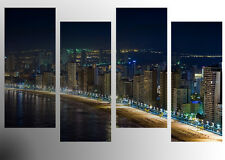 "BENIDORM AT NIGHT LANDSCAPE WALL ART PICTURES SPLIT MULTI 4 PANEL 43"" X 25"""
