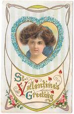 Valentine Postcard Art Nouveau Woman's Face in a Flower Heart~104496