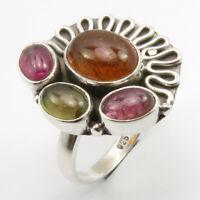 Multi Tourmaline Quartz Vintage Style  Handmade 925 silver Plated  Ring Size 6.5 US Jewelry  I 5289