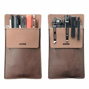 Leather Pocket Protector Pen Pouch Holder 2 Pack Shirt Jacket Tool Organizer