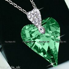 Peridot Heart Necklace Pendant - Classic Sparkling Silver Tone Crystal Buckle