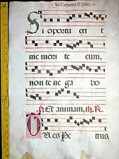 Huge deco.Antiphonary Manuscript Lf.Vellum,unusual T initials ca.1500.#100